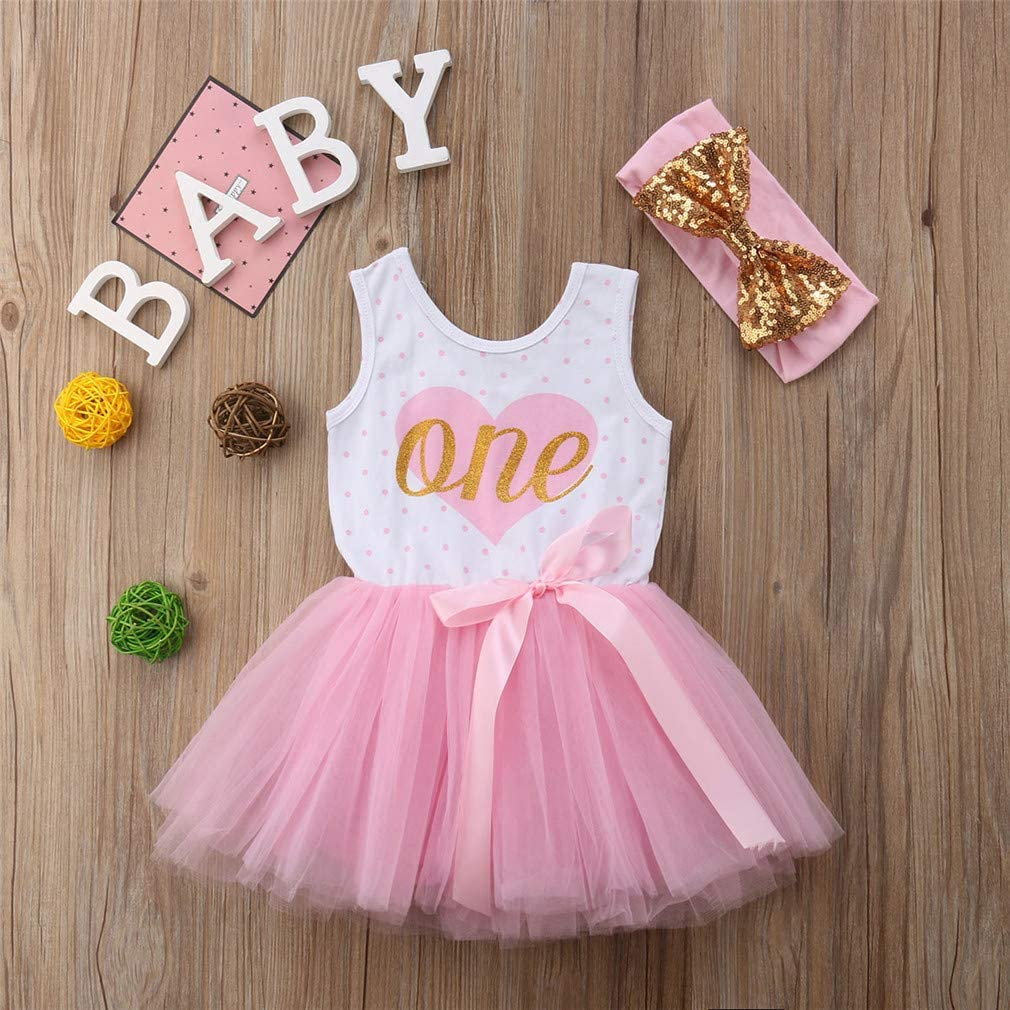 Bowknot Headband 2pcs Party Pageant Photography Clothes Set Sundress FYMNSI Infant Baby Girl First 1st Birthday Cake Smash Outfit Golden One Sleeveless Princess Tulle Tutu Vest Dress