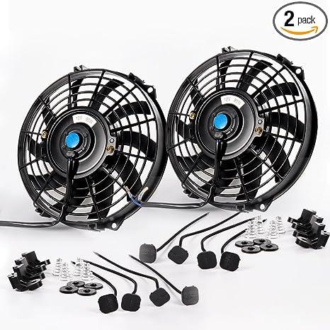 2X 7/'/' Black Slim Fan Push Pull Electric Radiator Cooling 12V Universal Kit New