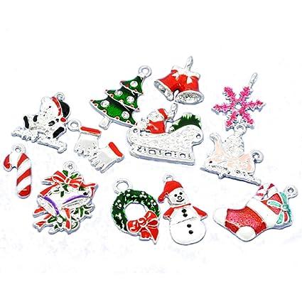 housweety 50 mixed silver plated enamel christmas charms pendants - Christmas Charms