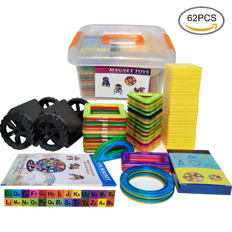 Blocs Magnetiques, Blocs Construction Magnétiques||Construction Magnétique||Aimanté Construction pour Enfant - 3D DIY Jeu pour Créativité et Innovation avec Livret Instraction et Boîte de Rangement
