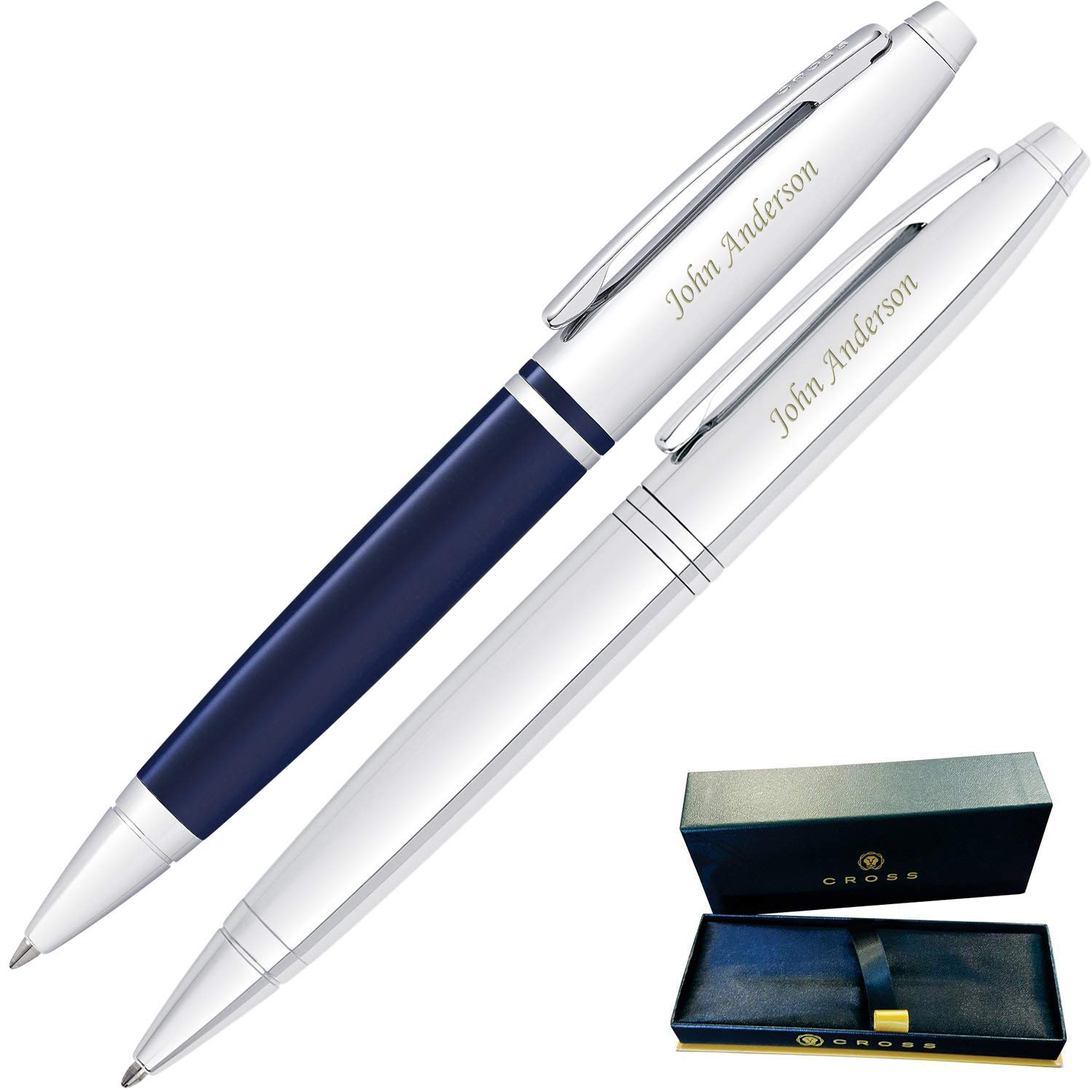 Dayspring Pens | Engraved/Personalized Cross Calais Gift Double Gift Pen Set -1 Chrome and 1 Blue Pen. Custom Engraved Fast!