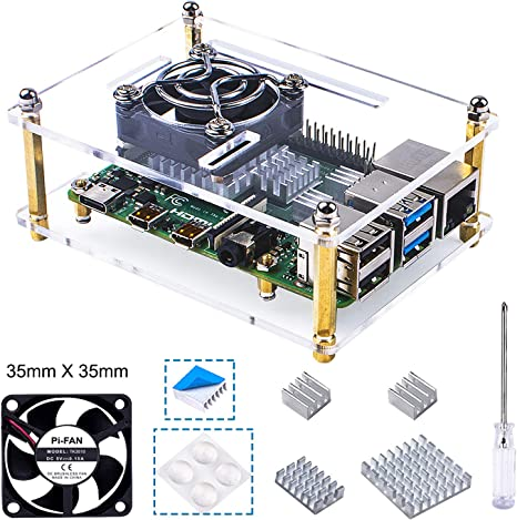 Bruphny Caja Acrílico para Raspberry Pi 4 con Ventilador de refrigeración y 3 disipadores de Calor Compatible para ...