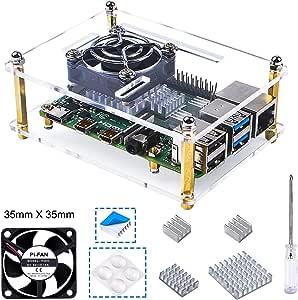 Bruphny Caja Acrílico para Raspberry Pi 4 con Ventilador de refrigeración y 3 disipadores de Calor Compatible para Raspberry Pi 4B / 4 Modelo B (la Placa Raspberry Pi no está incluida): Amazon.es: Electrónica