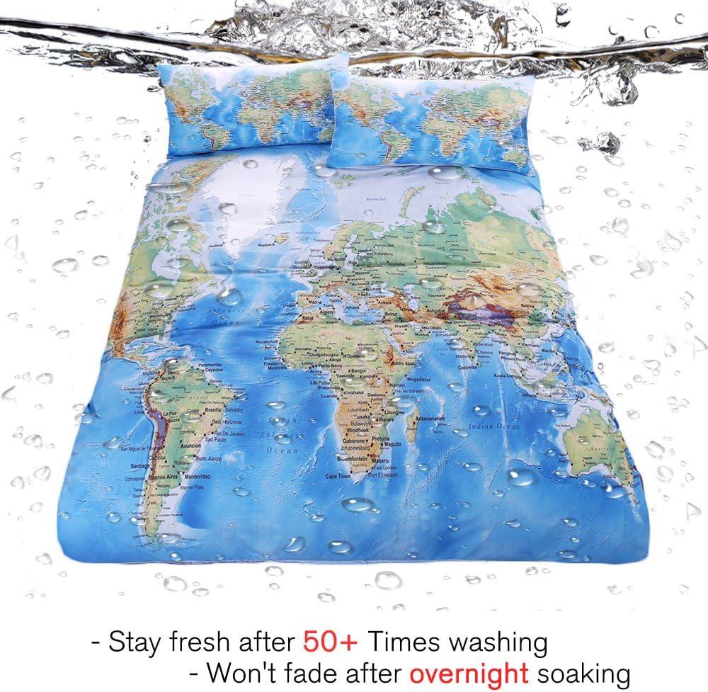 Queen Sleepwish World Map Bedding Vivid Printed Map Duvet Set Hypoallergenic and Wrinkle Resistant