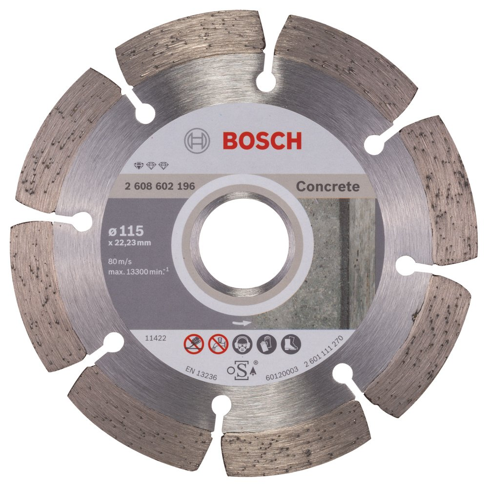 Bosch 2608602196 Standard for Concrete Diamond Cutting disc, Silver/Grey, 115 mm