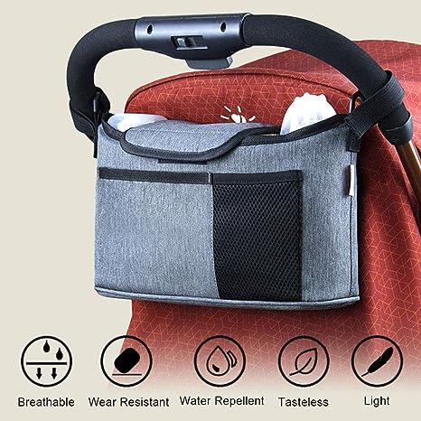 apto para la mayor/ía de cochecitos de beb/é de uso universal con bolsa para pa/ñales y portavasos Accesorio organizador para cochecito de beb/é
