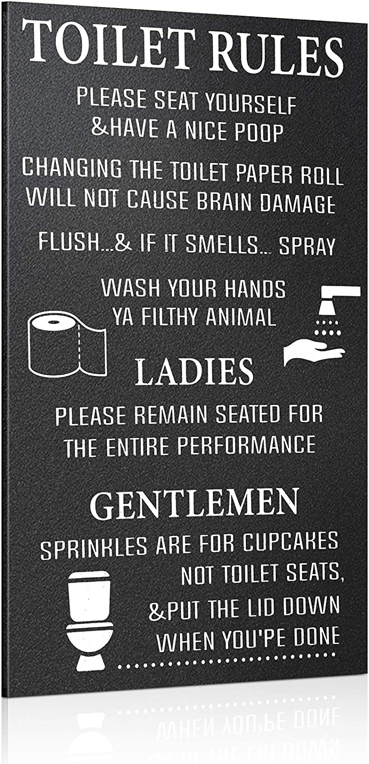 Jetec Bathroom Wooden Sign Ornament Toilet Rules Sign Funny Bathroom Decor Please Seat Yourself Wooden Bathroom Sign Wash Your Hands Hanging Wall Art for Home Bathroom Decor, 13.79 x 8.67 Inch