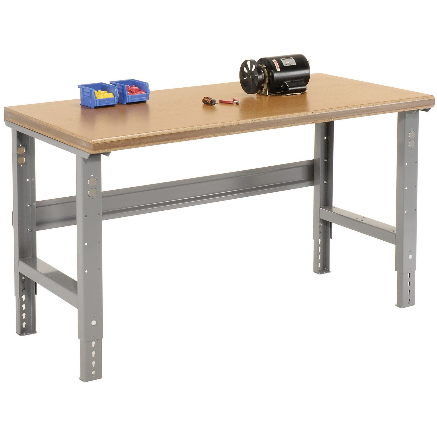 Adjustable Height Shop Top Safety Edge Work Bench, 72''W X 36''D, Gray