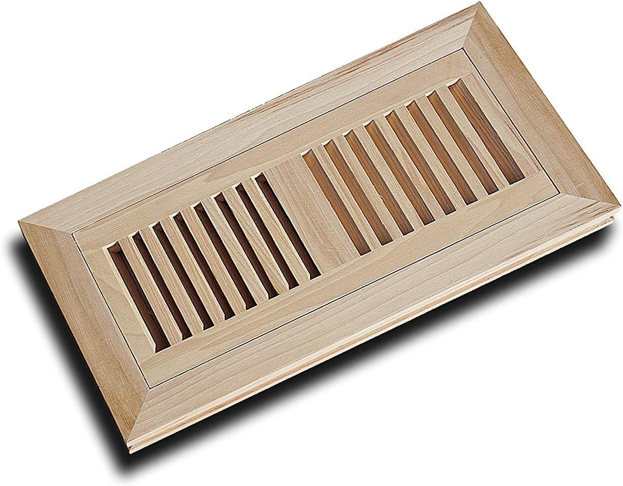 """WELLAND 4"""" X 14"""" Hickory Wood Flush Mount Floor Register Vent Unfinished, 3/4"""" Thickness"""