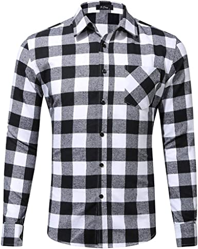 Internet-Camisa a Cuadros de Manga Larga para Hombre, tamaño Europeo y Americano, diseño de Bolsillo único, Camiseta de Solapa (S-2XL)
