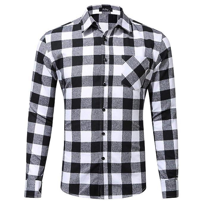 Longra-Uomo Camicie a Quadri Casual in Cotone Maniche Lunghe Shirt Slim Fit  Camicie Classico Botton Down Camicia Casual Maglietta A Maniche Lunghe da  Uomo  ... 0e3004a8ce9