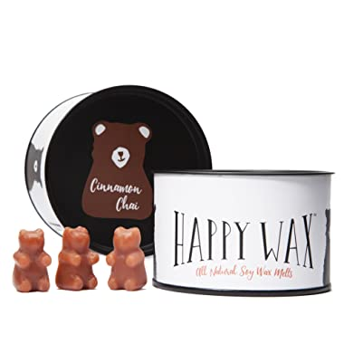 Happy Wax Cinnamon Chai Scented Soy Wax Melts - 100 Hours Burn Time in Every Tin - Bear Shapes Perfect for Mixing Melts in Your Warmer!