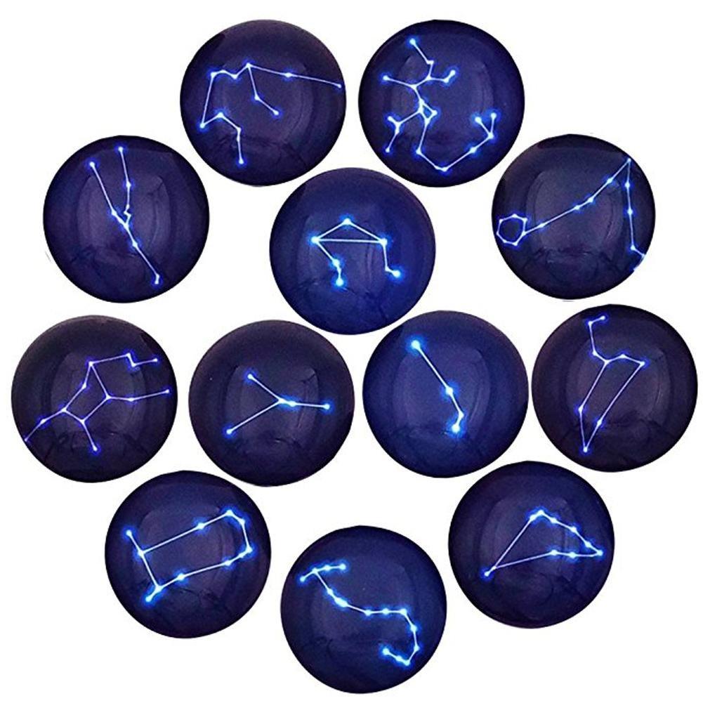 12 pcs 12 constellations Motif Aimants de ré frigé rateur, aimants ronds Diamè tre Environ 35 mm aimants ronds Diamètre Environ 35mm Sue Supply