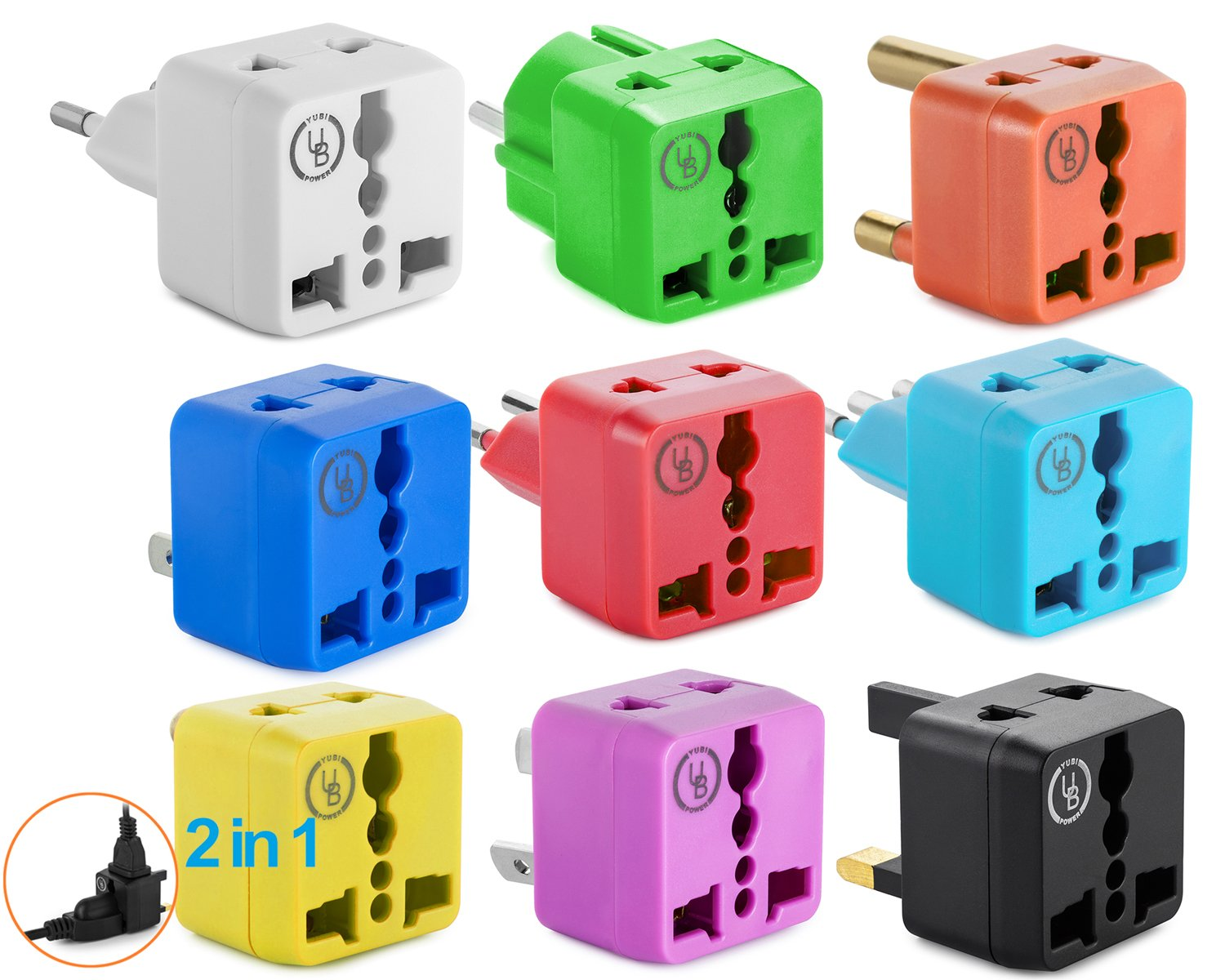 Yubi Power 2 in 1 Universal Travel Adapter with 2 Universal Outlets - 9 Worldwide Plug Adapter Kit - Type G, Type C, Type A, Type D, Type E/F, Type I, Type J, Type L, Type M.
