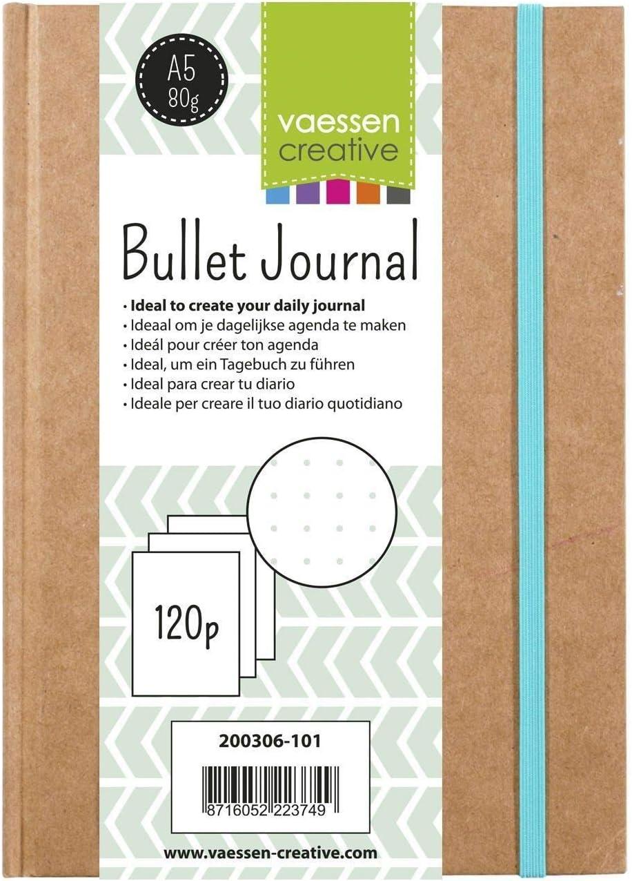 Quaderno Planner Bujo con 120 Pagine Puntinate per Diari Quotidiani Vaessen Creative Bullet Journal Taglia Unica Marrone