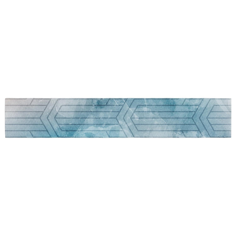 Kess InHouse Matt Eklund Frost Labyrinth Blue White Table Runner