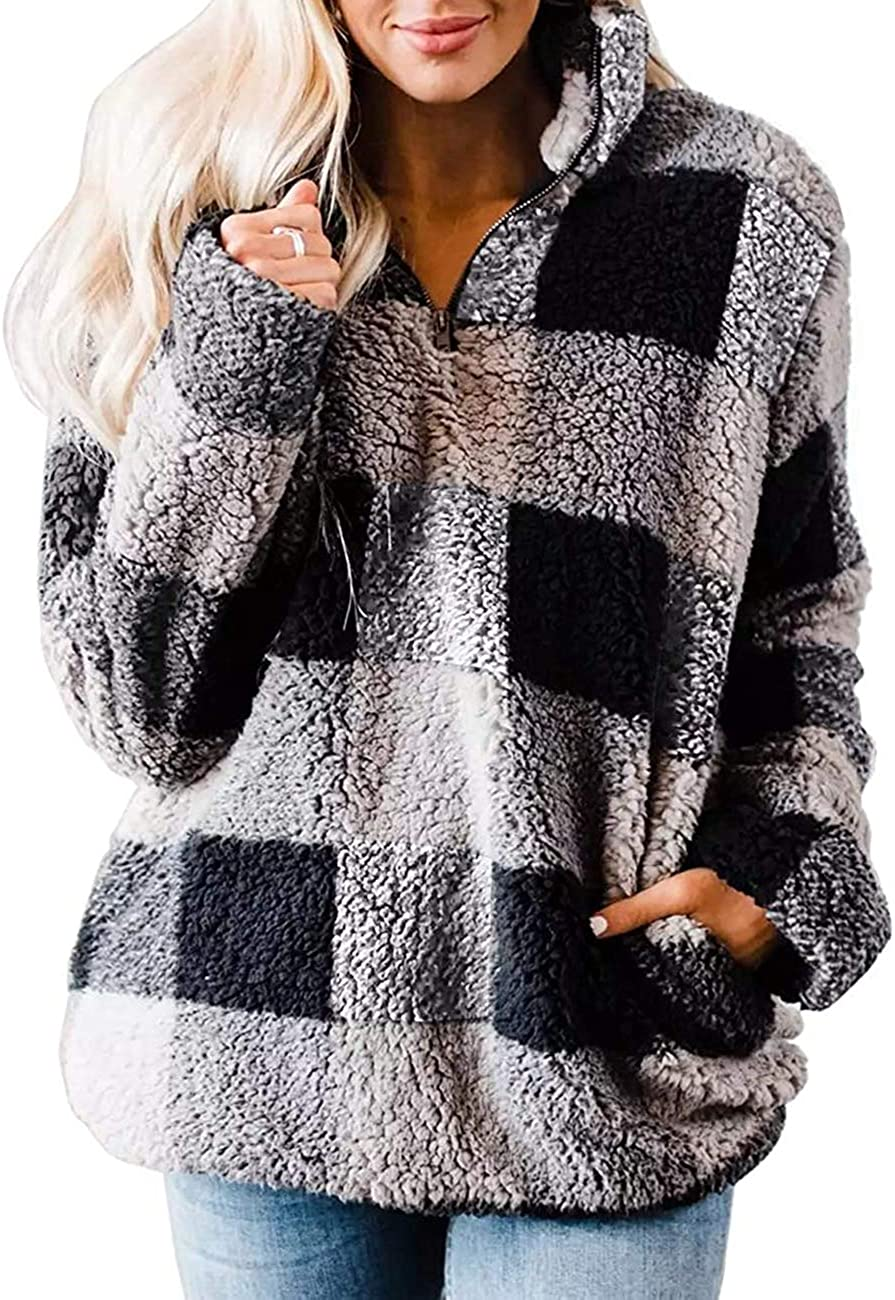 MEROKEETY Women's Plaid Sherpa Fleece Zip Sweatshirt Long Sleeve Pockets Pullover Jacket: Clothing
