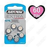 60 piles auditives Rayovac 675 Extra advanced / pile auditive PR44 / piles pour appareils auditifs / 675AE,A675,DA675,P675,PR675H
