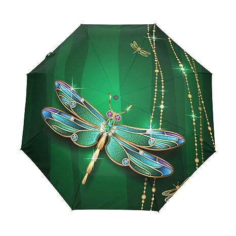 728f538e977c Amazon.com: JSTEL Dragonfly Windproof UV Umbrellas Auto Open Close 3 ...
