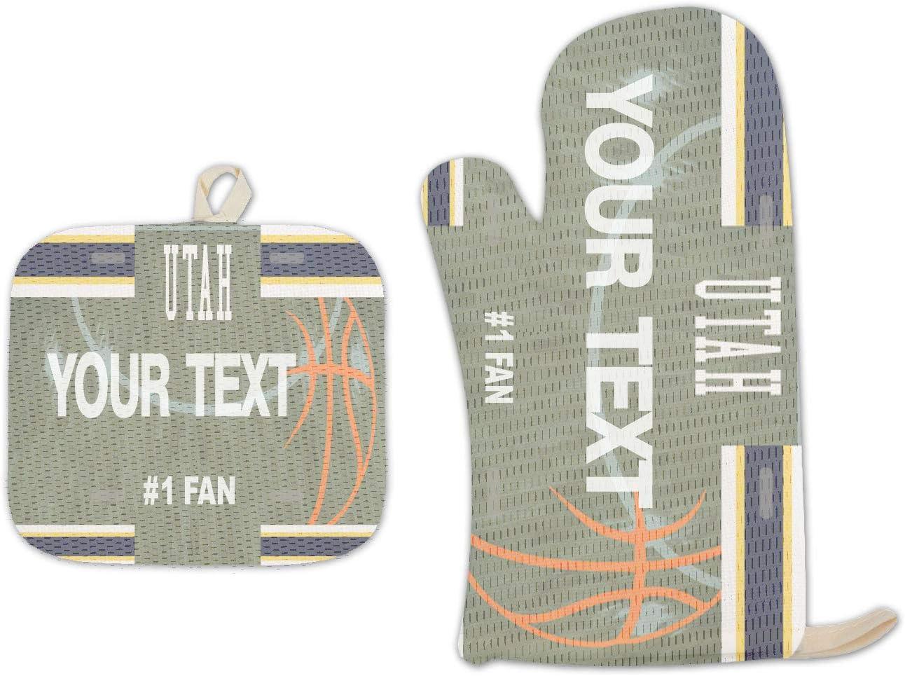 Bleu Reign BRGiftShop Personalized Custom Name Basketball Team Utah Linen Oven Mitt and Potholder Set