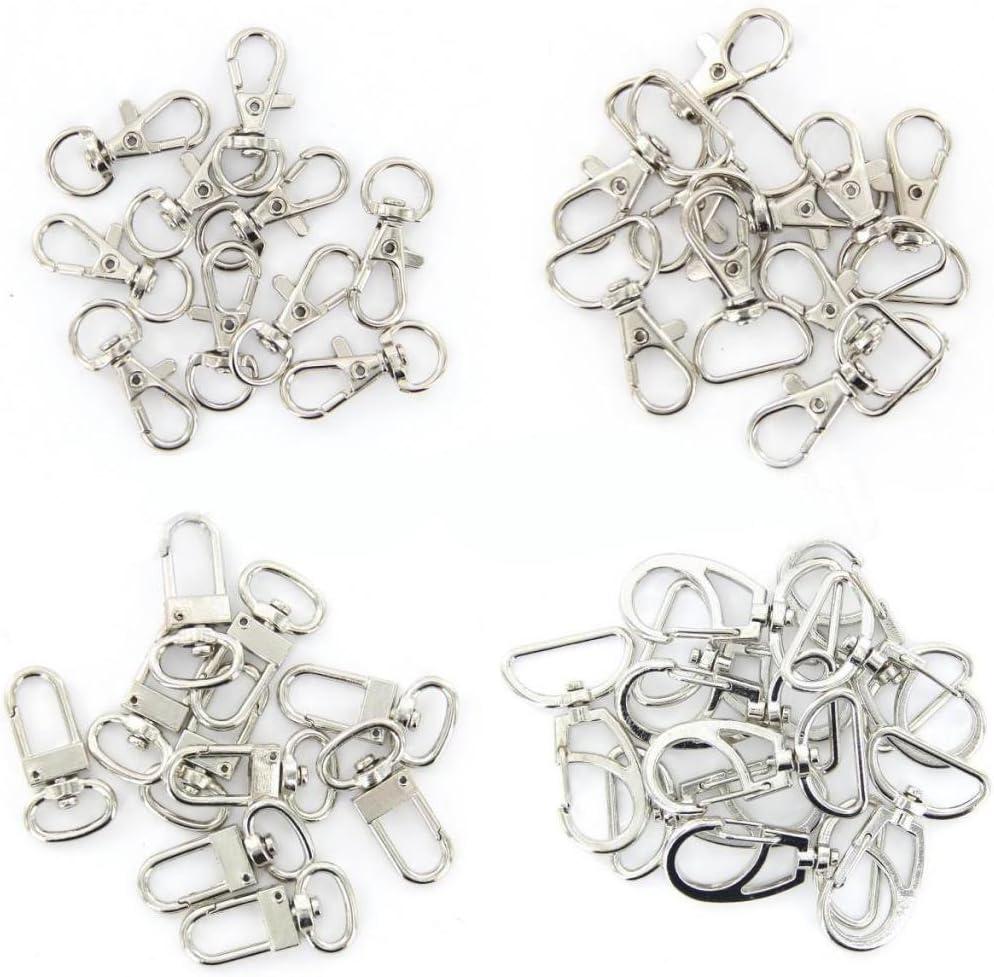 10Pcs Fermoir en m/étal pivotant clips de d/éclenchement crochets mousquetons porte-cl/és sacs bricolage argent