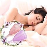 2er Menstruationstasse Set - Exqline Menstruationstasse aus Medizinischem Silikon für Normale bis Starke Blutung mit Aufbewahrungsbeutel Lila Rosa Größe L