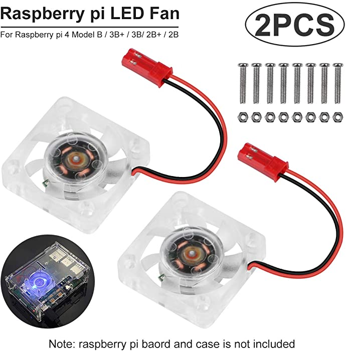 2pcs Raspberry Pi 4 Fan, Raspberry Pi Cooling Fan DC Brushless CPU Quiet LED Cooling Fan 30mm 30mm Fan Cooler Radiator 3 to 5.8V for Raspberry Pi 4 Model B, Raspberry Pi 3B+ 3B 2B+