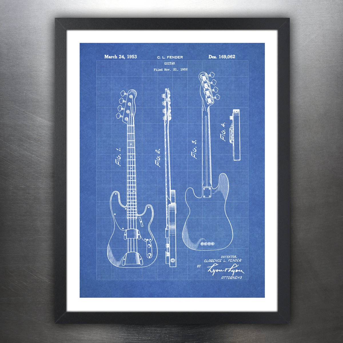 Amazon fender 1951 bass guitar poster blueprint us patent print amazon fender 1951 bass guitar poster blueprint us patent print 18x24 poster vintage reproduction gift unframed posters prints malvernweather Gallery
