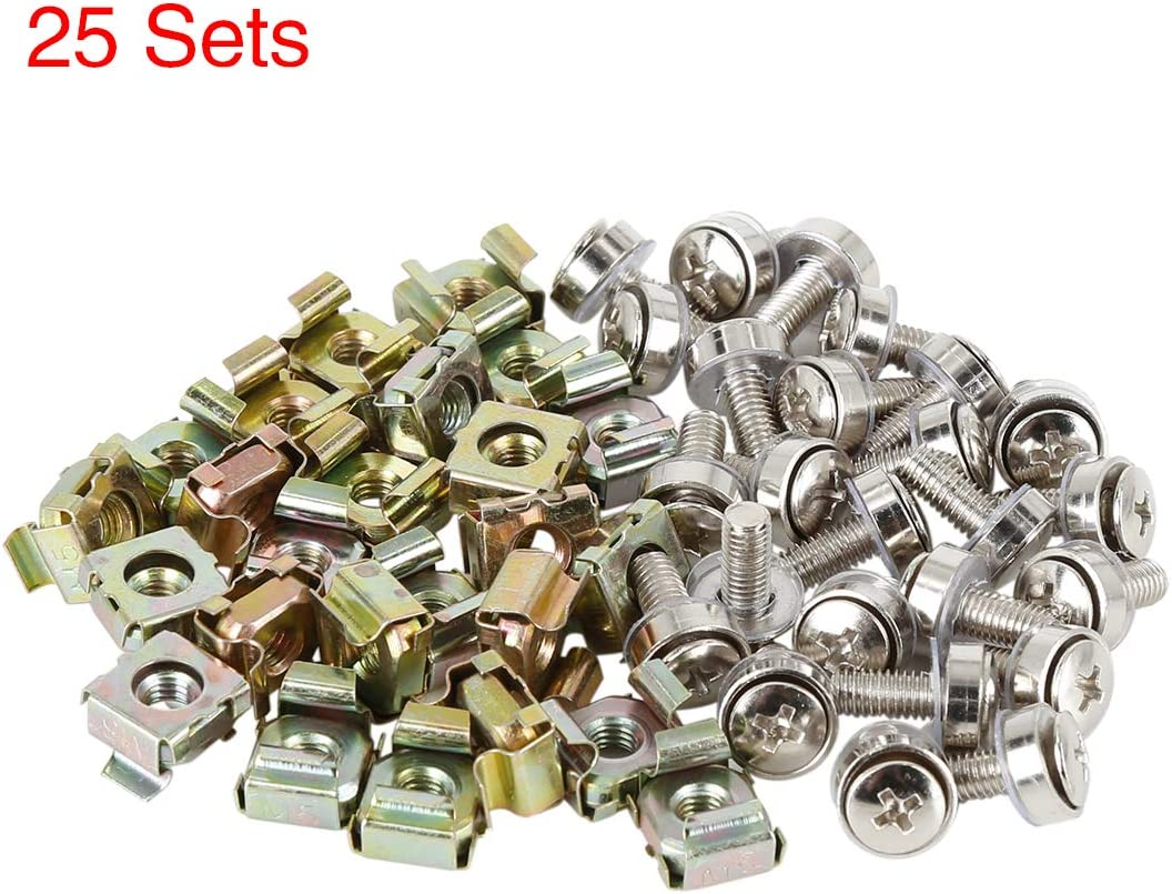 X AUTOHAUX 25 Set 5mm Rack Mount Cage Nuts and M5 x 16mm Mounting Screws Bolts Bronze Tone Steel for Car License Plate Boat