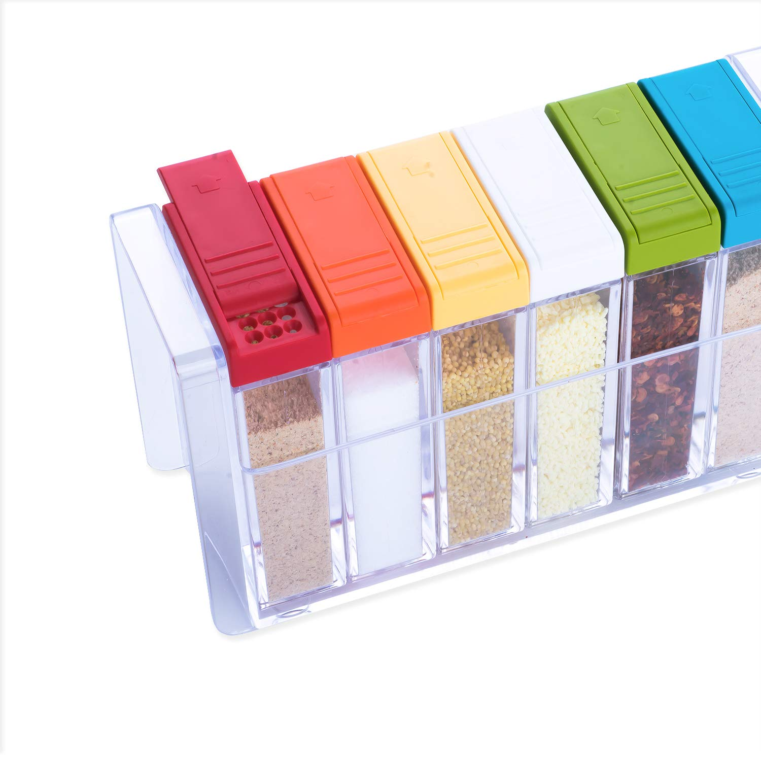 Kary Chef Set of 6 Spice Shaker Jars Seasoning Box,Condiment Jar Storage Container with Tray for Salt Sugar Cruet Pepper,Colorful