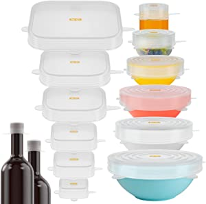 16 Pack Silicone Lids: A Set of Magic Stretch Lids Food and Bowls Covers for Food Storage, Fresh Keeping, Naturally BPA Free, Safe for Dishwasher,Microwave