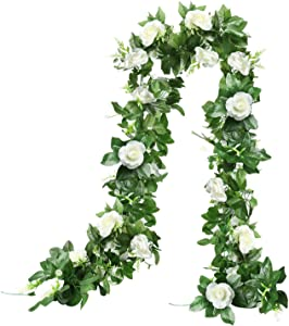 The Bloom Times 2PCS 7.8FT Artificial Rose Vine Flowers Plants Realistic Silk Fake Flowers Garland Hanging Baskets Rose Ivy for Home Ceremony Wedding Arch Garden Indoor Outdoor Craft Art Wall Decor