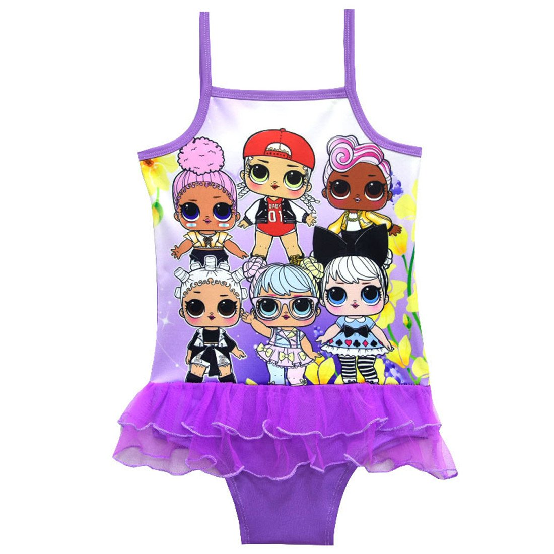 Dgfstm Baby Girls Cartoon Swimsuit Bathing Suit Adventure Outfit One Piece