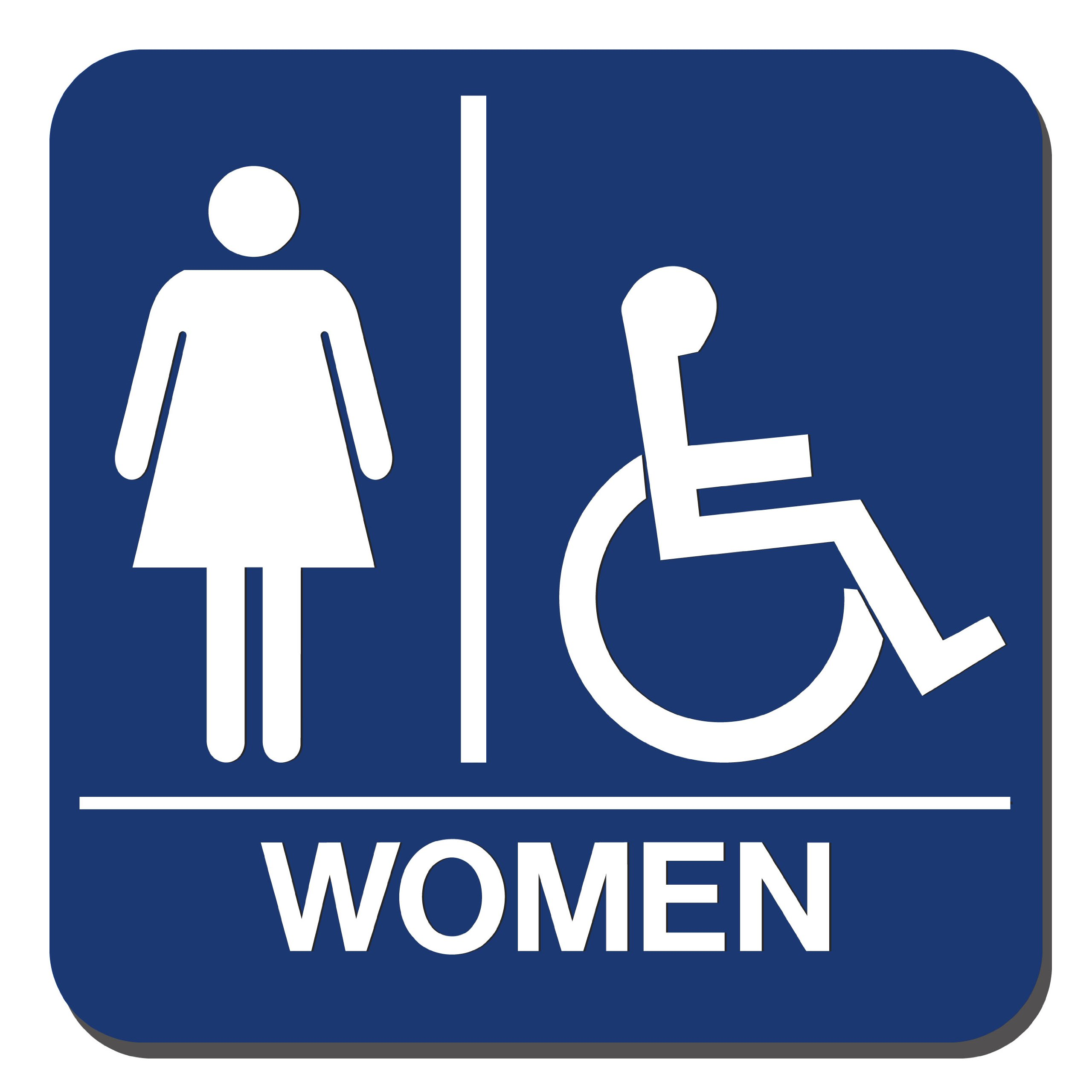 Lynch Signs 8 in. x 8 in. Sign Blue Plastic with Women Symbol and Accessible Symbol by Lynch Signs