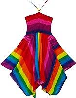 Pikulla Zigzag Hem Women's Rainbow Hippie Gypsy Sundress Multicoloured One Size SML