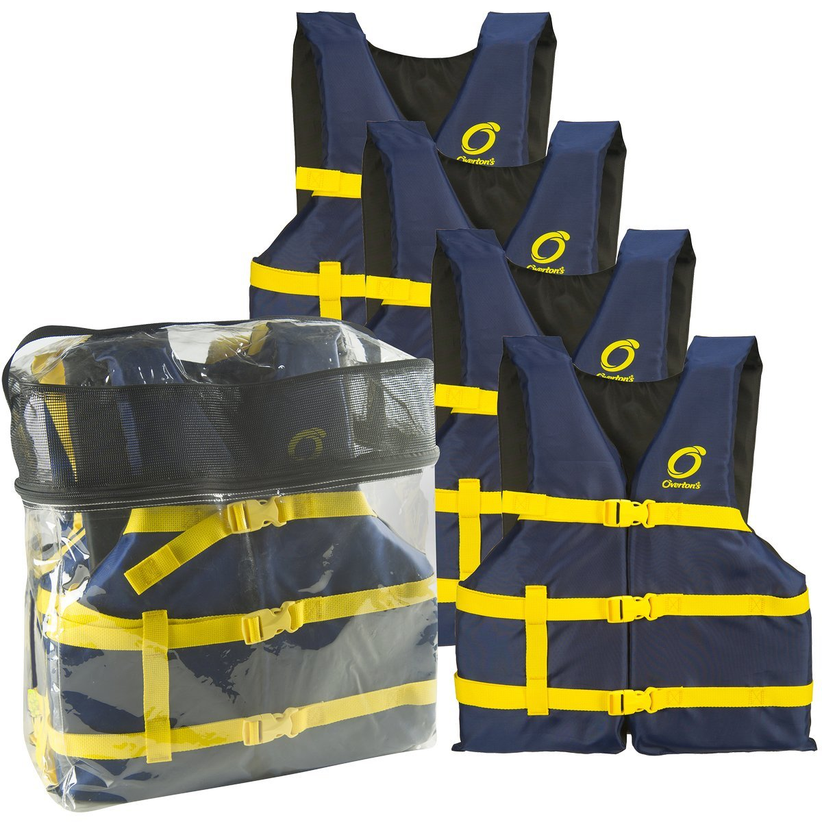 Life Jacket Vests for Boating Universal 4 Pack Unisex - Blue by Overton's
