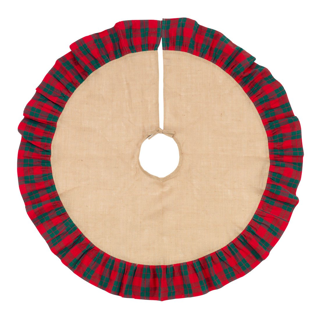 48 Inch Brown Burlap Christmas Tree Skirt