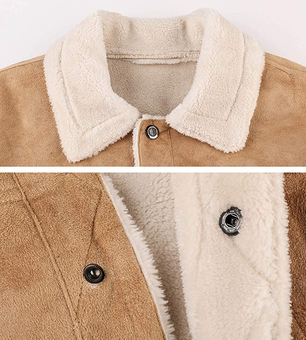 chouyatou Mens Insulated Full-Zip Windproof Sherpa Lined Suede Leather Trucker Jacket
