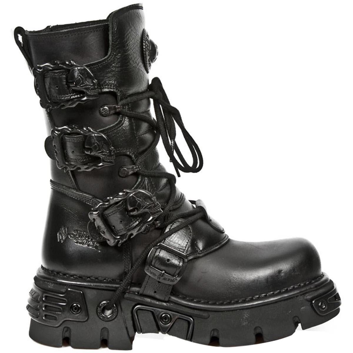 New Rock Shoes - All Black Boots with Reactor Soles B00NSXEEVW 39 M EU|ブラック ブラック 39 M EU