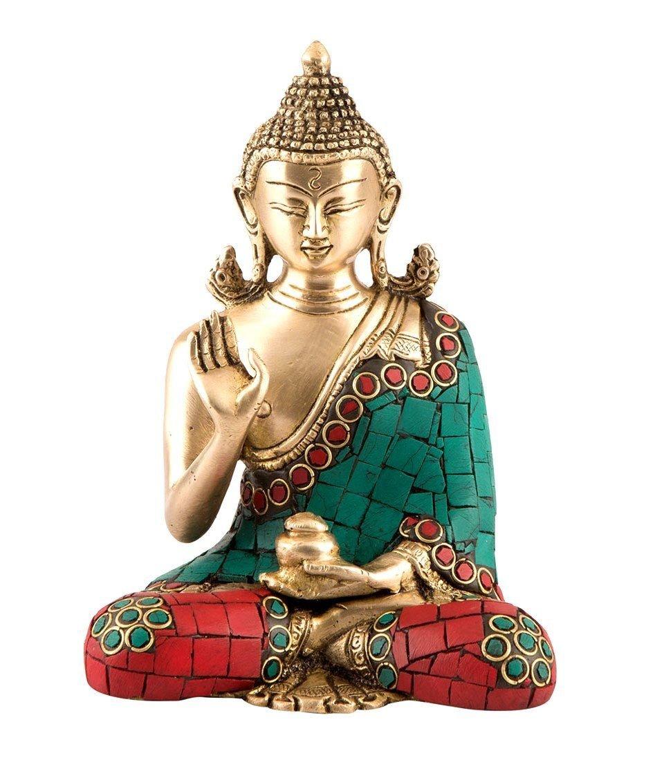 6'' Thai Buddha Meditating Peace Harmony Statue - Brass Sculpture by CraftVatika