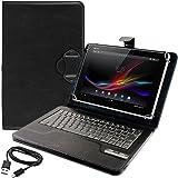 kwmobile Hülle mit QWERTY Tastatur für Sony Xperia Tablet Z mit Ständer - Kunstleder Tablet Schutzhülle in Schwarz