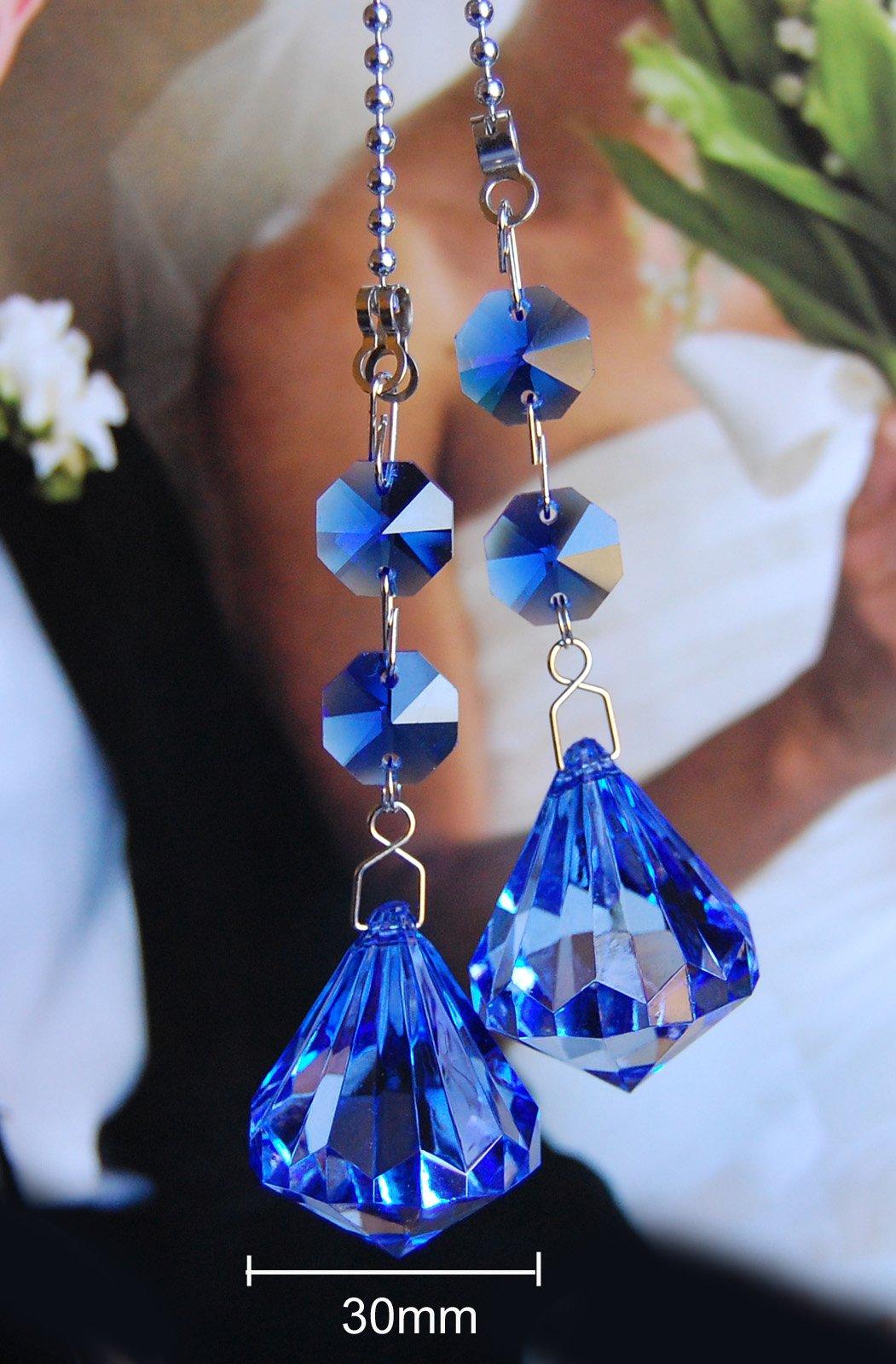 2 of Gorgeous Blue Crystal Diamond Ceiling Lighting Fan Pulls