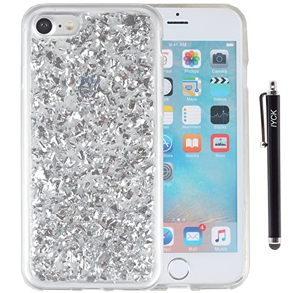 best website f7057 1e4fa iPhone 8 Case, iPhone 7 Case, iYCK Luxury Bling Glitter Sparkle [Gold Foil  Embedded] Transparent Flexible Soft Rubber Gel TPU Protective Shell Bumper  ...