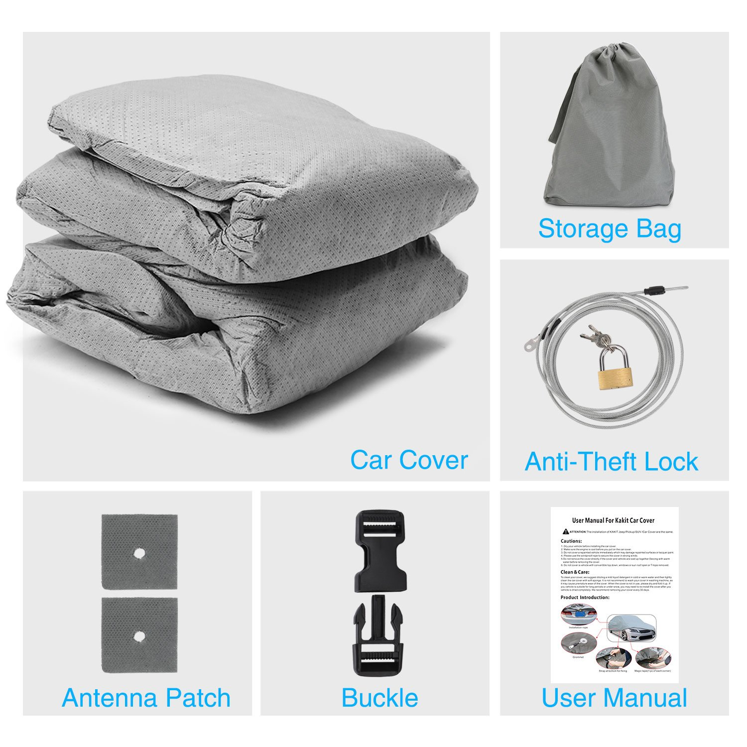 KAKIT 2 Layers Car Cover Windproof Dustproof Water Resistant Summer Outdoor UV Protection SUV Cover for car Free Windproof Ribbon /& Anti-Theft Lock Fits 170