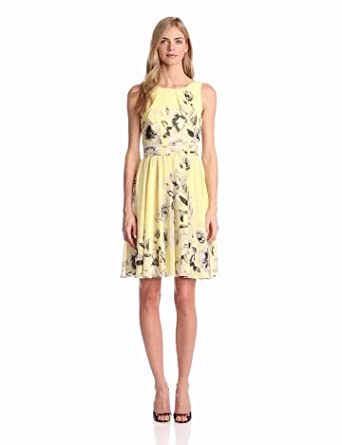 Eliza J Women's Sleeveless Fit And Flare Printed Dress, Yellow, 14