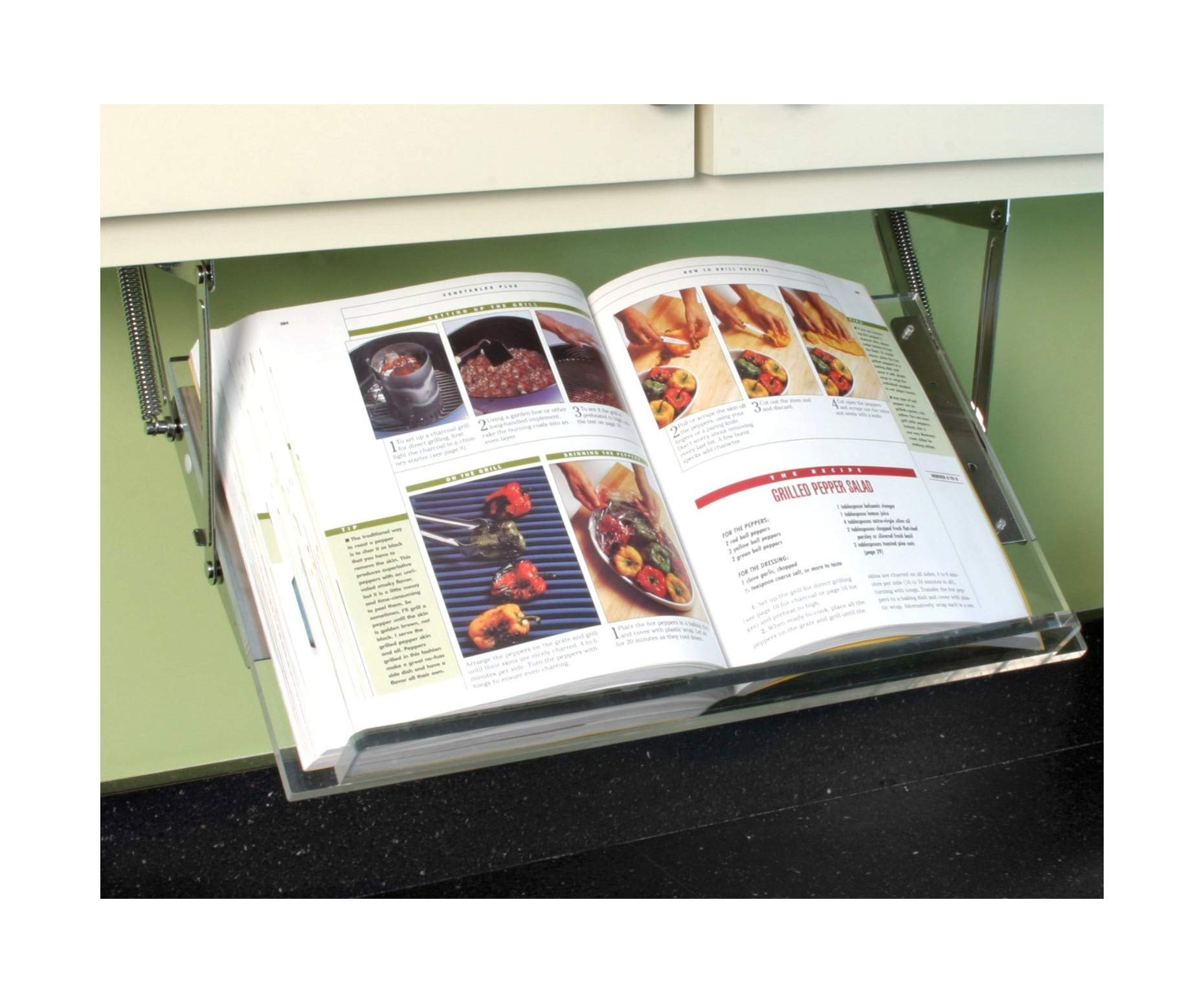 Clear Solutions Under Cabinet Mounted Cookbook Holder - Acrylic - Made in The USA by Clear Solutions