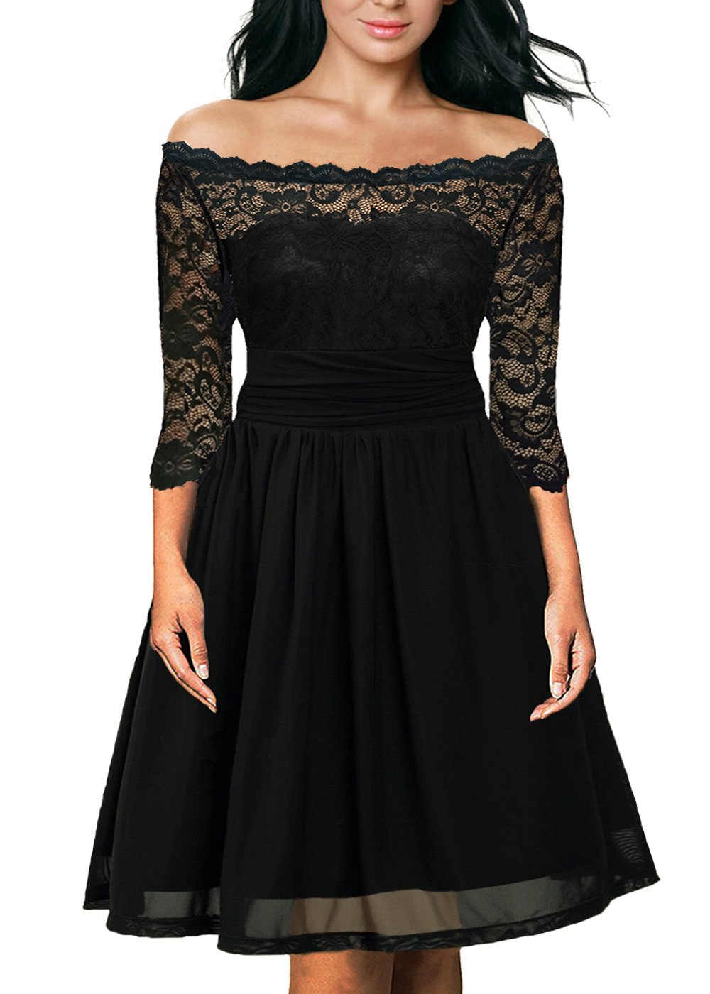 Dilanni Womens Vintage Floral Lace Long Sleeve Cocktail Party Tube Dress 0X-5X CAOCPD00323X