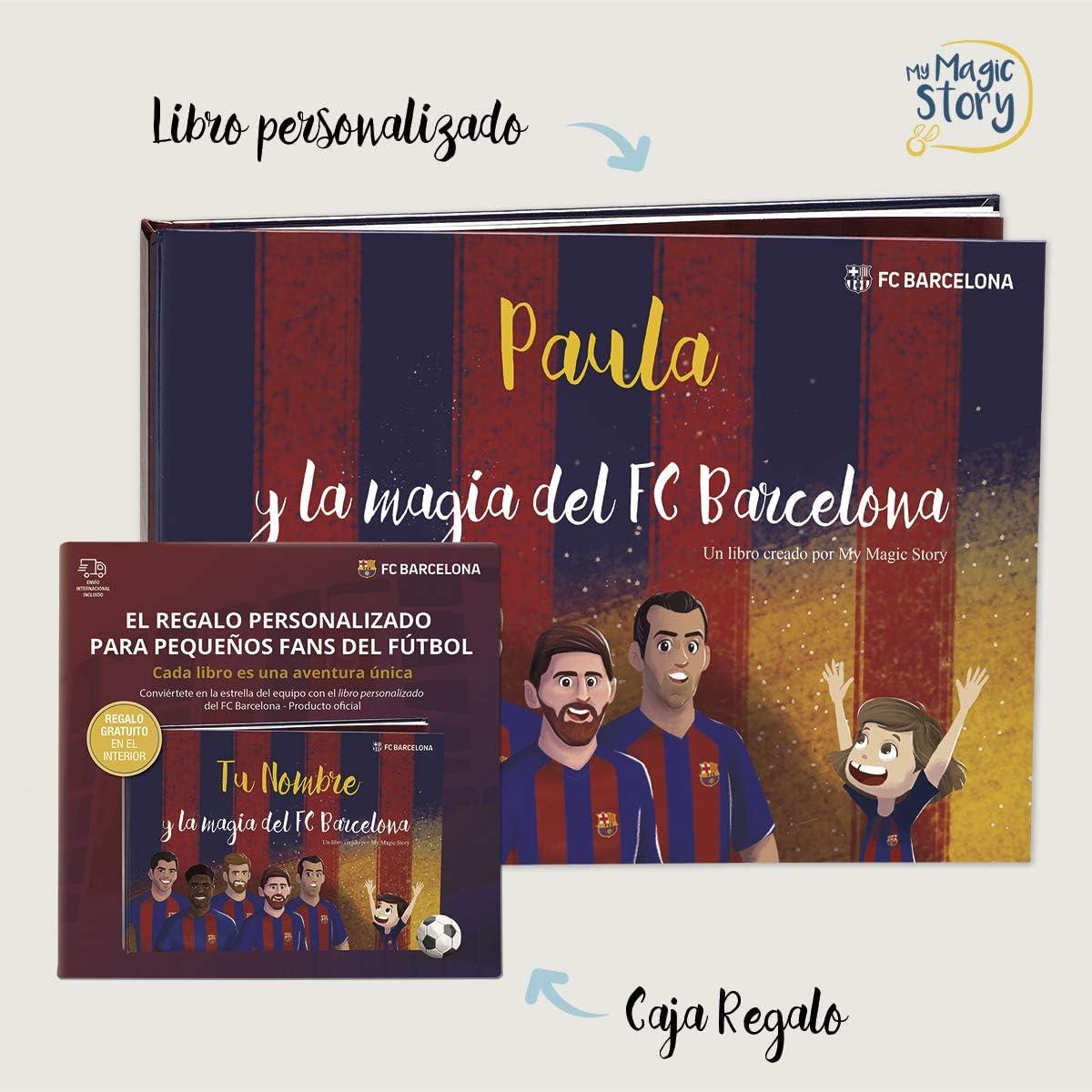 MY MAGIC STORY Caja Regalo - La Magia del FCBarcelona - Libro Personalizado para niños - ¡Incluye recortables de Tus Jugadores Favoritos!