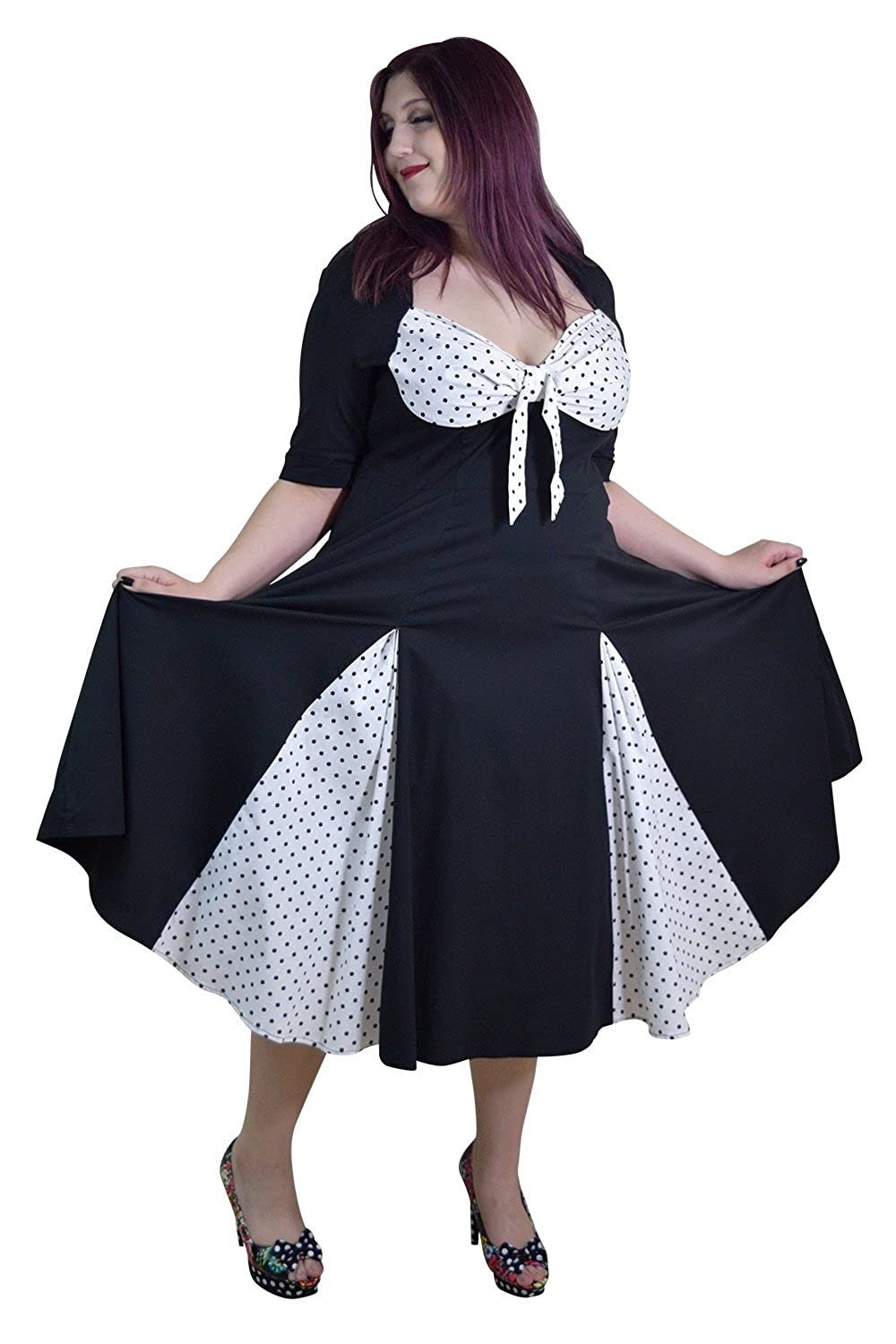 Skelapparel Plus 50's Rockabilly Black & White Polka-dot Dress with 3/4 Sleeves 39150
