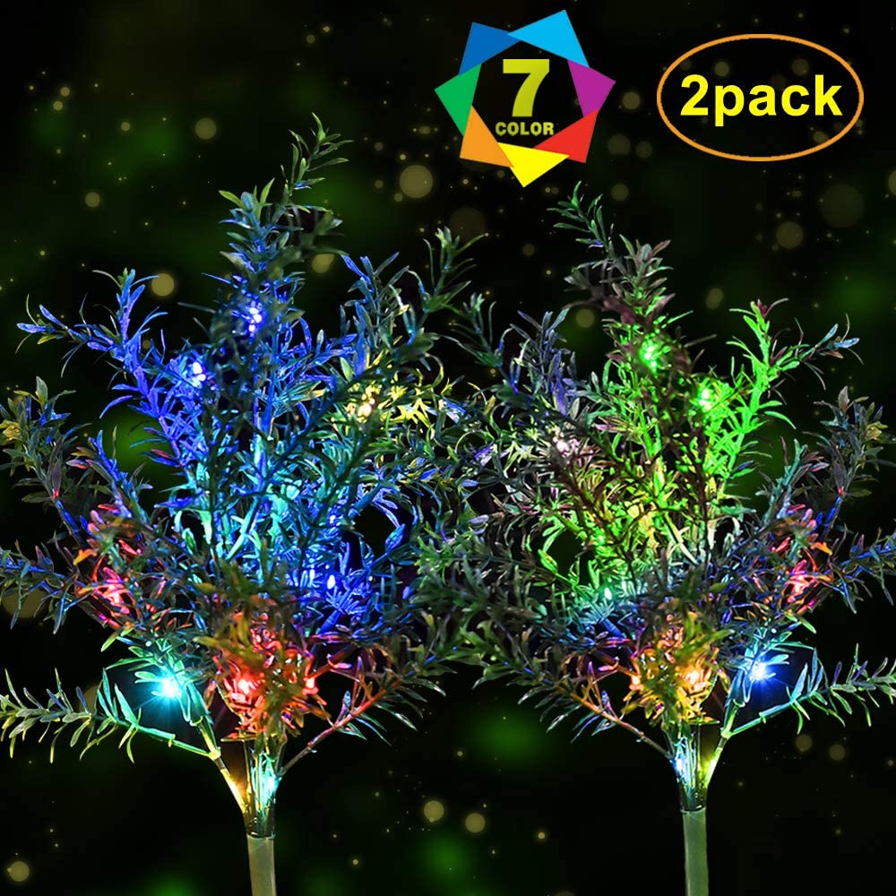 Idefair Solar Garden Lights Christmas Tree,Outdoor Multi-Color Changing LED Stake Lights Flower for Garden, Patio, Yard and Decoration Solar Flickering Tree Lights (Christmas Tree,2 Pack)